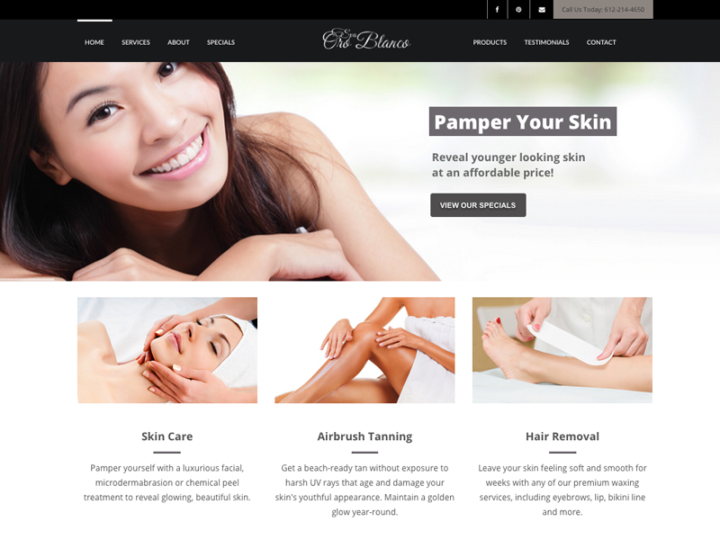 Spa Oro Blanco Website Design