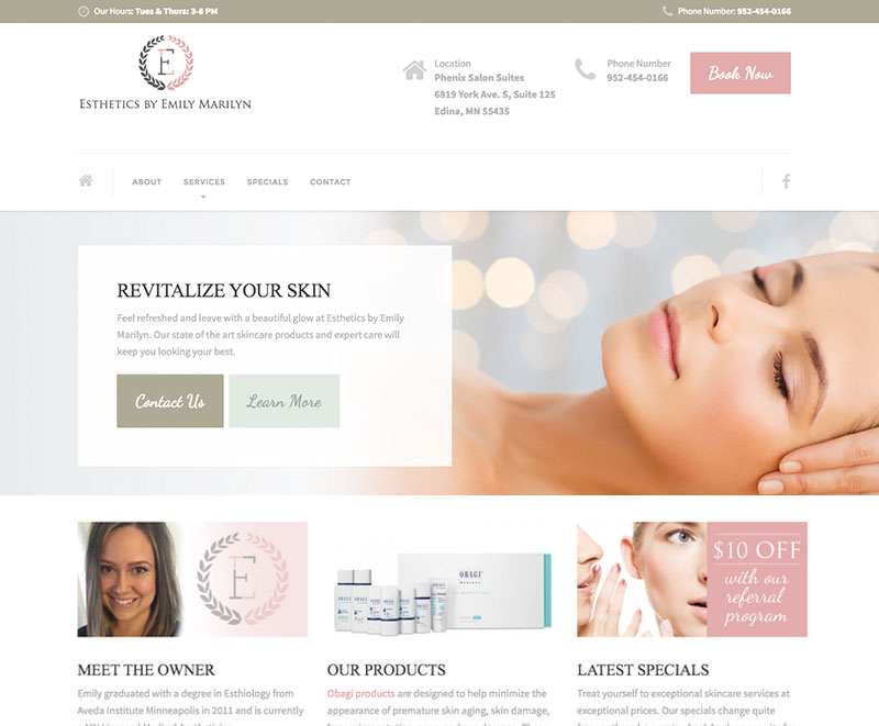 Esthetics by Emily Marilyn Website Design